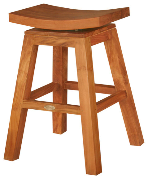 Excellent Teak Wood Vessel Barstool With Swivel Seat Unemploymentrelief Wooden Chair Designs For Living Room Unemploymentrelieforg