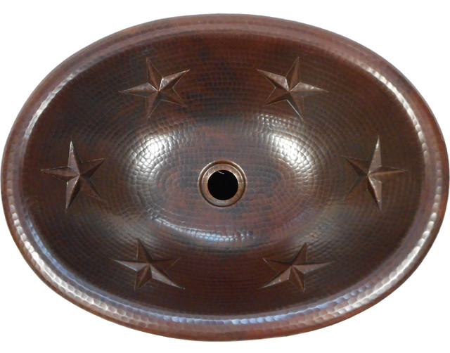 "19"" X 14"" Oval Texas Star Design Copper Sink Self Rimming Or Vessel."