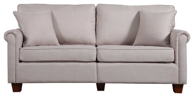 Classic 73 Inch Love Seat Living Room Linen Fabric Sofa, Beige