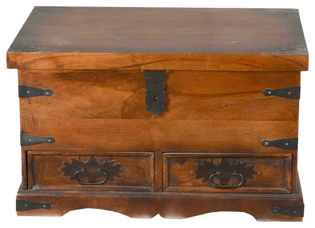 Shaker solid wood coffee table chest storage box w drawers for Solid wood jewelry chest