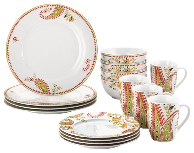 Dinnerware Paisley 16-Piece Porcelain Dinnerware Set  sc 1 st  Houzz & Dinnerware Paisley 16-Piece Porcelain Dinnerware Set