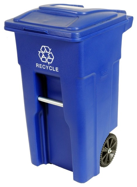 32 Gallon Wheeled Trash Can, Blue Industrial Outdoor Trash Cans