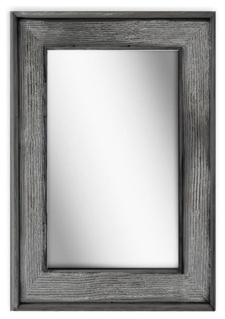 Petra Wood Rectangular Wall Mirror, Charcoal Gray.