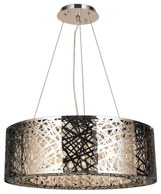 Contemporary Light Led Chrome Finish Clear Oval Crystal Chandelier