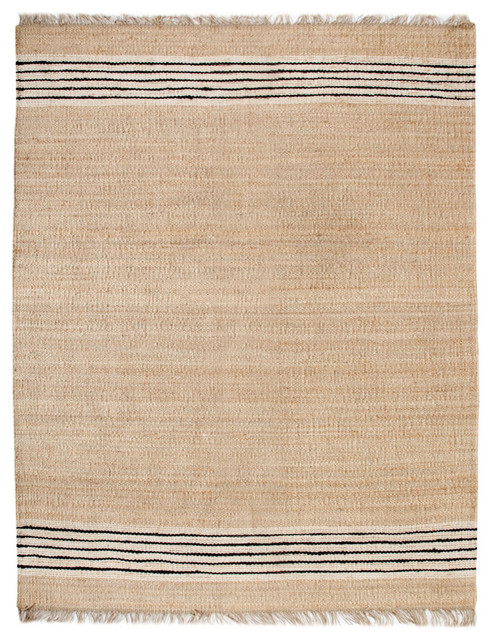 Provence Handmade Jute Dhurrie Rug With Tassles, 8&x27;x10&x27;. -1