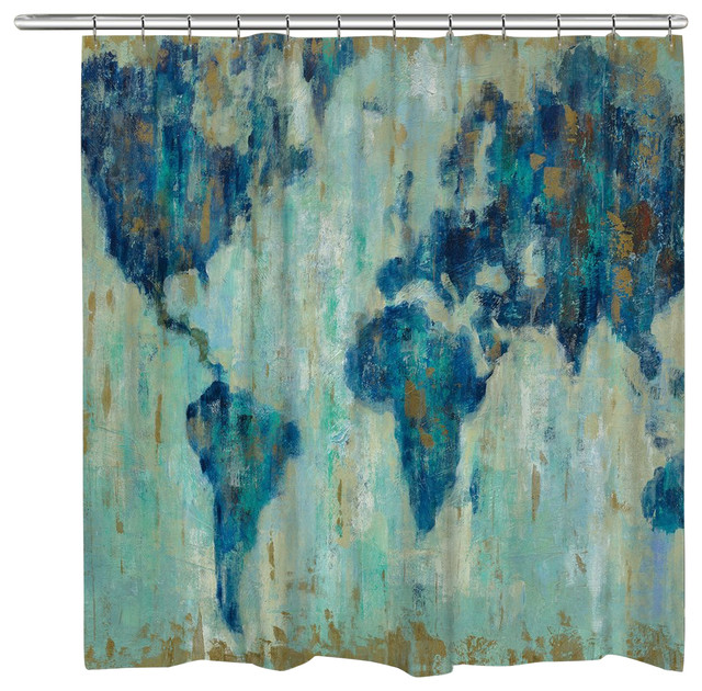 Laural Home Map Of The World Shower Curtain