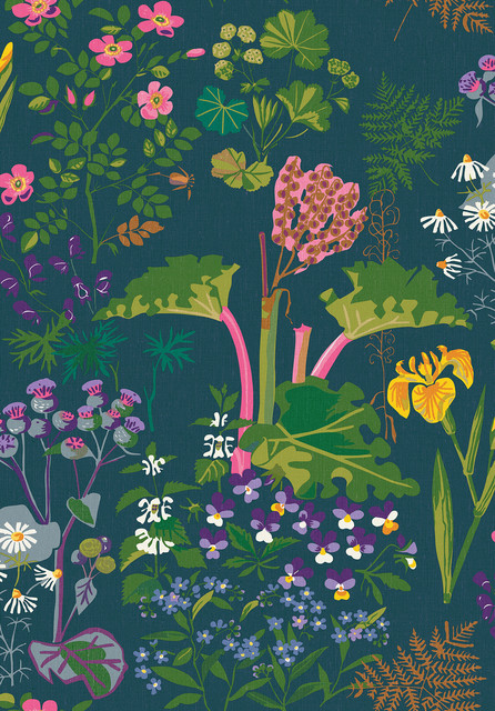 Rabarber Charcoal Floral Wallpaper, Swatch. -1