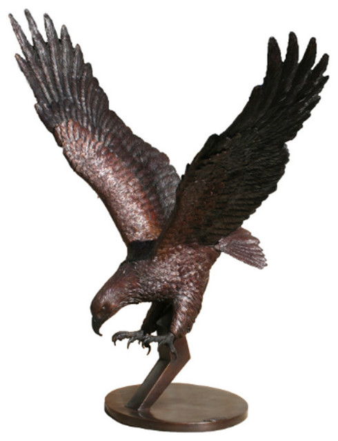 ... Outdoor Decor · Garden Statues U0026 Yard Art. Eagle On Pedestal Brass  Sculpture