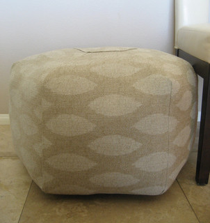 ottoman pouf floor pillow natural ikat white beige by