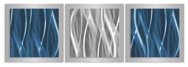 Blue And Silver Essence Contemporary Artwork Metal Wall Decor