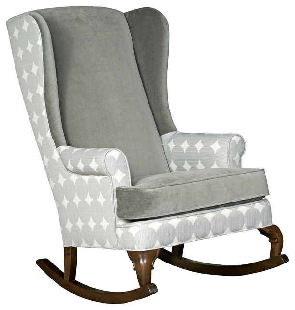 Ziggy Velvet Rocking Chair, Polka Dot Accent