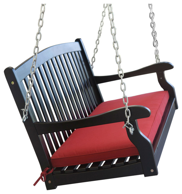 black 5u0027 wooden porch swing with brick red cushion and hardware - Wooden Porch Swings