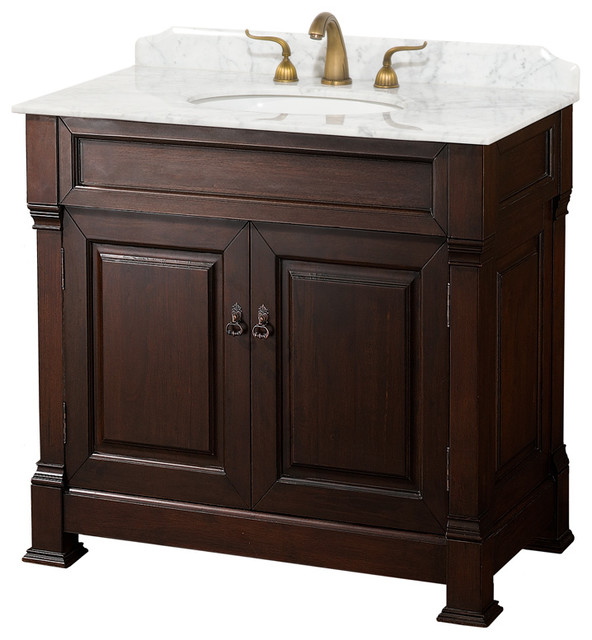 "Andover 36"" Dark Cherry Single Vanity, Carrara Marble Top, Oval Sink, No Mirror"