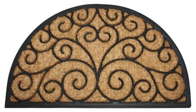 J And M Home Fashions 4435 Orleans Natural Coir And Rubber Doormat, Half.