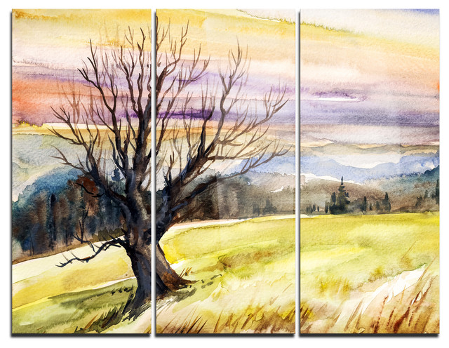 """""""Tree Without Leaves At Sunset"""" Trees Metal Wall Art, 3"""