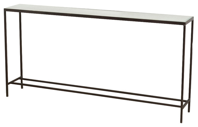 Howard Modern Thin Mirrored Wide Console Table.