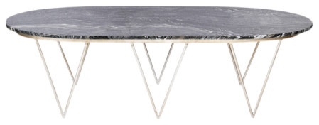 Worlds Away Surf Coffee Table With Black Marble Top, Silver Leaf