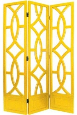 Charleston Yellow Three Panel Screen traditional screens and wall dividers