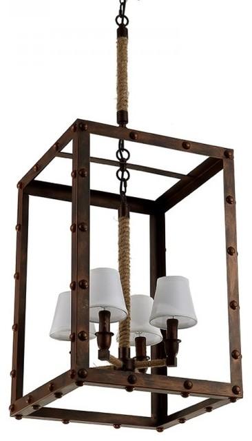 vintage industrial iron chandelier with vertical rectangular frame design rustic chandeliers. Black Bedroom Furniture Sets. Home Design Ideas