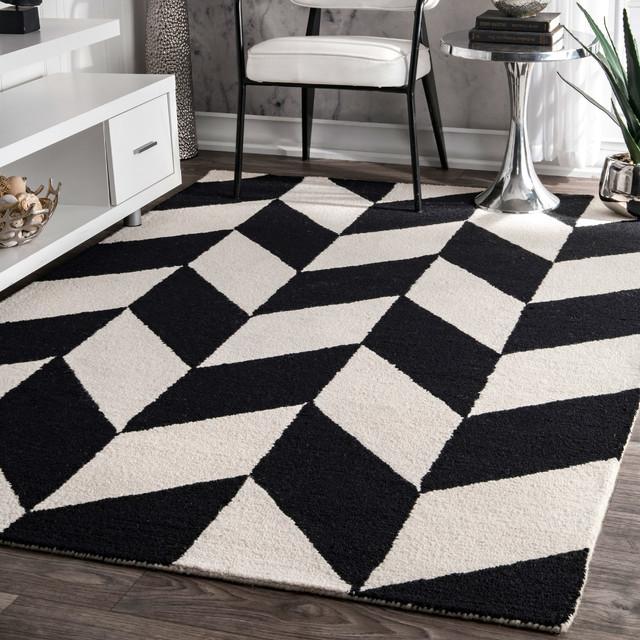 "Hand-Tufted Mod Tiles Wool Rug, Black/White, 7'6""x9'6"""