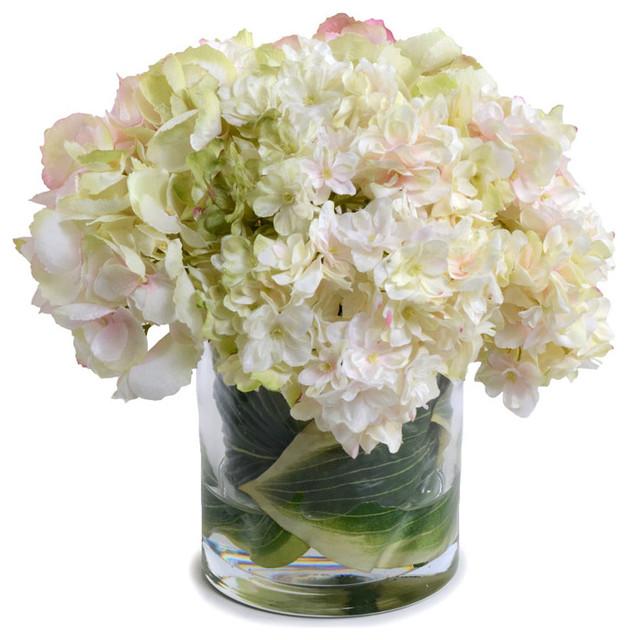 Pink Green Hydrangea Bouquet Transitional Artificial Flower