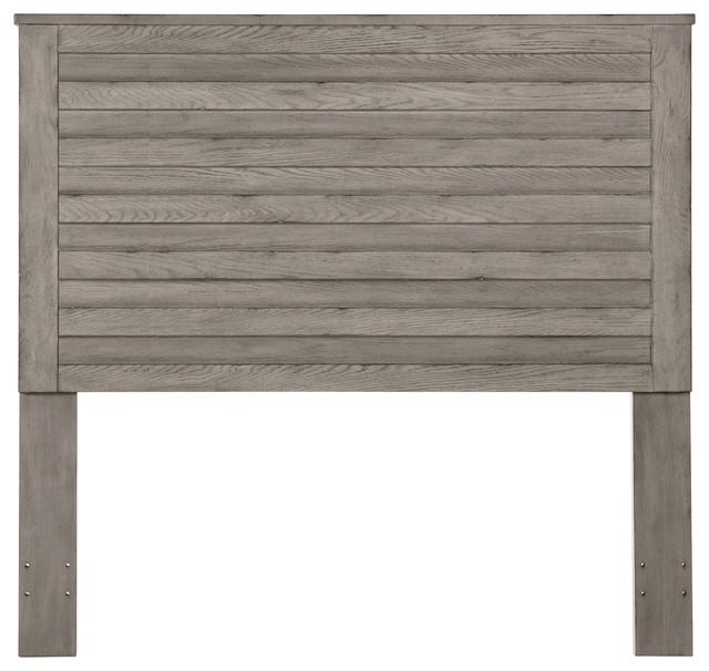 Wood Slat Headboard, Weathered Gray, Queen.