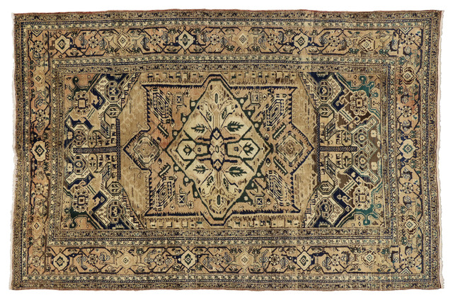 Consigned Vintage Persian Heriz Area Rug Hollywood Regency Style 7 5x11 Traditional