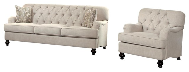 Strange 2 Piece Champagne French Button Tufted Set Sofa And Chair Natural Fabric Evergreenethics Interior Chair Design Evergreenethicsorg