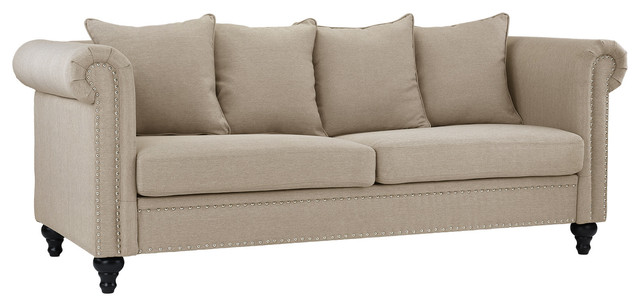 Classic Chesterfield Scroll Arm Linen Sofa With Nailhead