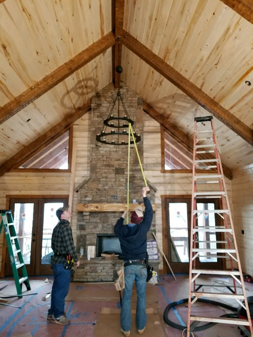 Height For Chandelier In Vaulted Living Room