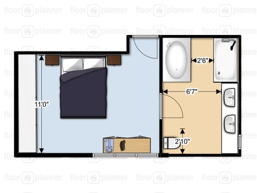 Need help for master bathroom layout bigger bathroom or bigger room