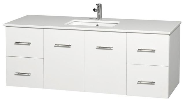 "Centra 60"" Single Vanity, White, Countertop, Undermount Square Sink, No Mirror."