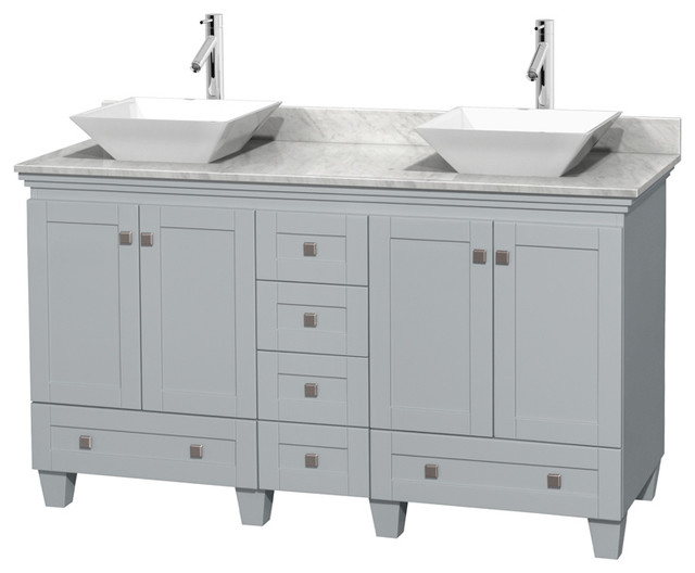 Acclaim 60 Double Vanity, Oyster Gray, Carrera Marble Top, Pyra White Sinks.