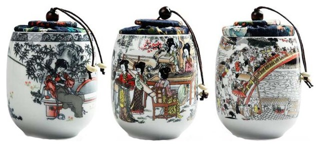 Beautiful Ornament Ceramics Tea Storage Jars.