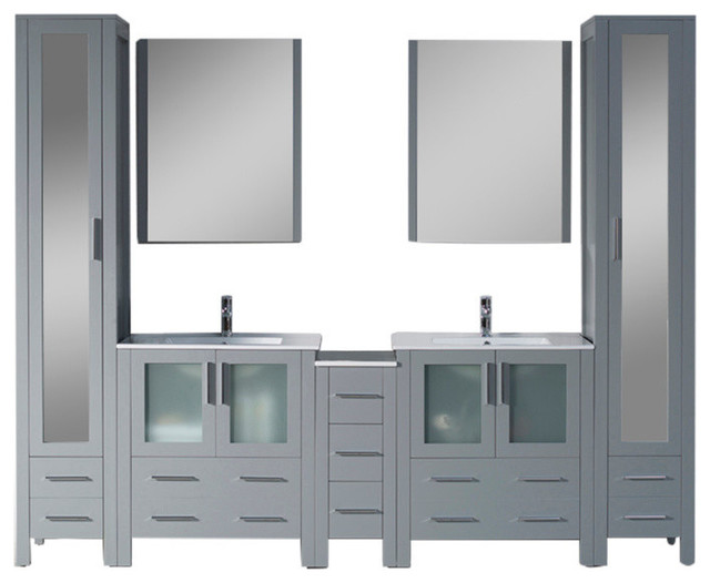 """Sydney 102"""" Vanity Set With Mirror Linen Cabinet, Glossy White, Metal Gray."""