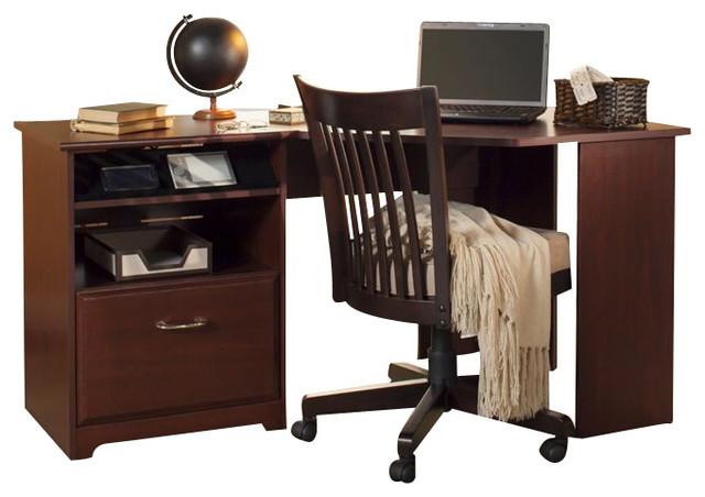 Bush Cabot Corner Computer Desk In Harvest Cherry.