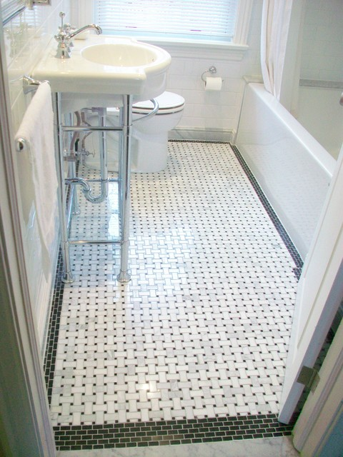 Bathroom Reno With Basketweave Floor Tile And Black Border Accent Tiles Traditional