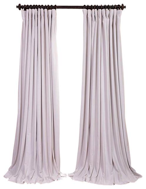 "Signature Off White Doublewide Blackout Velvet Curtain Single Panel, 100""x96""."