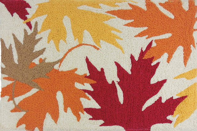 Autumnal Leaves Fall Decor Indoor Outdoor Accent Rug.