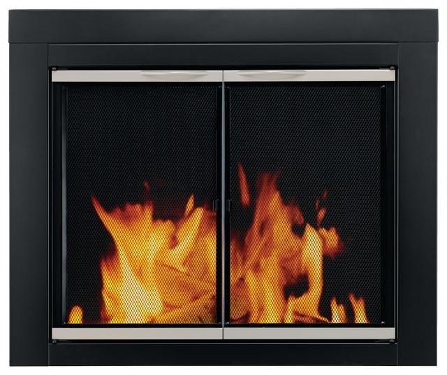 Alsip cabinet style fireplace screen glass doors small for Indoor screen door