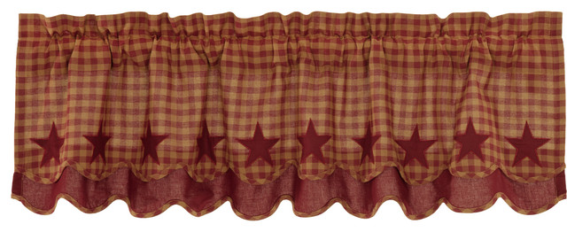 Red Primitive Kitchen Curtains Cody Burgundy Star Valance Rod Pocket Cotton  Star