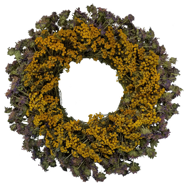 """Lemon Mint And Tansy Wreath, 22""""."""