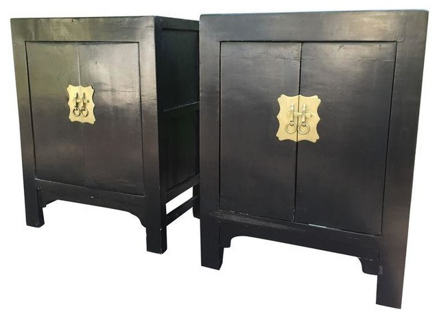 Antique Chinese Black Lacquer Cabinets