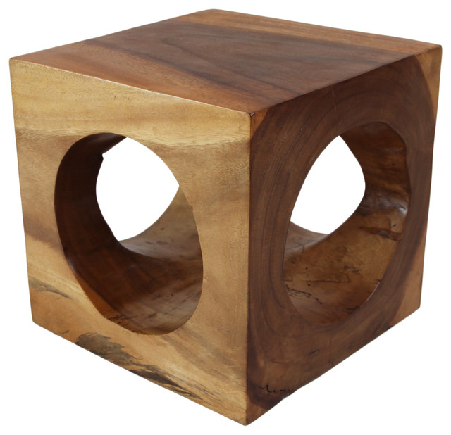 Modern Cube Hole Stool Side Table