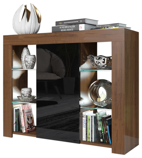 Milano Sideboard 1D4S Matte Body High Gloss Door, 16 Colors LED, Walnut/Black