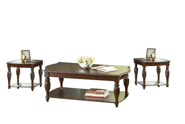 Steve Silver Company Antoinette 3 Piece Coffee Table Set Cherry Traditional Coffee Table