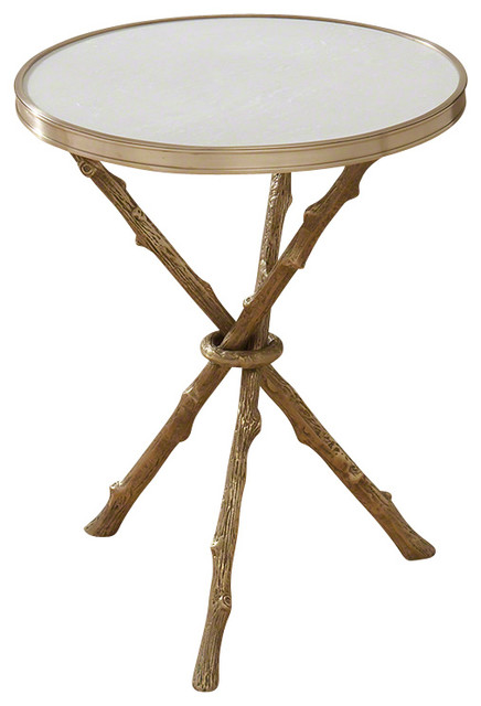 Enjoyable Global Views Twig Table Brass And White Marble Frankydiablos Diy Chair Ideas Frankydiabloscom