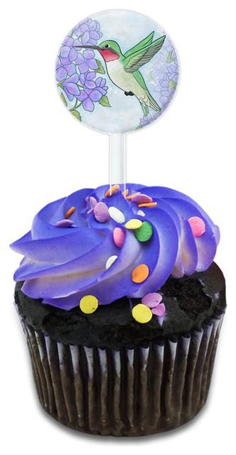 Hummingbird With Hydrangeas Cupcake Toppers Picks Set.
