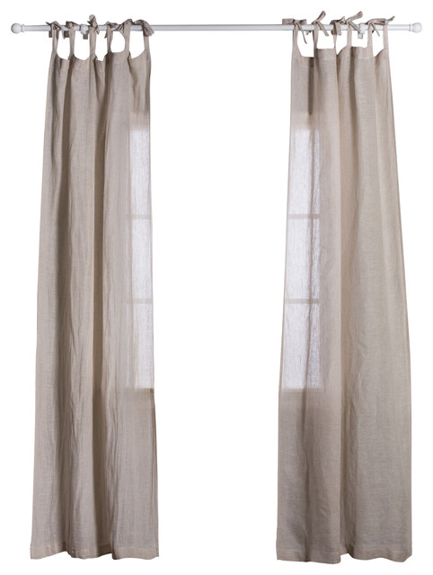 Curtain Panel Linen Voile Tie Top Flax Curtains By