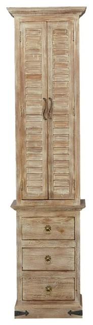 Sitka Rustic Mango Wood Narrow Tall White Linen Cabinet with Drawers